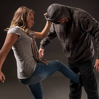 Teenage girl uses self defense skills to fight back.